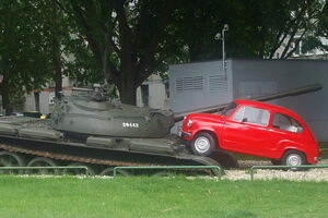 The Red Fiat of Osijek monument.