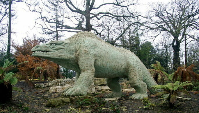 the megalosaurus sculpture at the park wikimedia commons http www wikipedia org public domain
