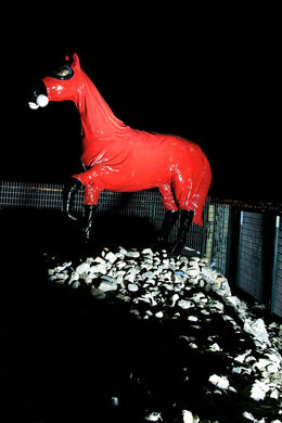 I found a visit at night to be dramatic as the lighting really makes the red suit stand out on that dark stretch of highway. NightEagle (Atlas Obscura User) & Cold War Horse u2013 Arvada Colorado - Atlas Obscura azcodes.com