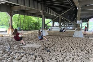 During the daytime, there are enough swings beneath the bridge that there's usually an open seat!