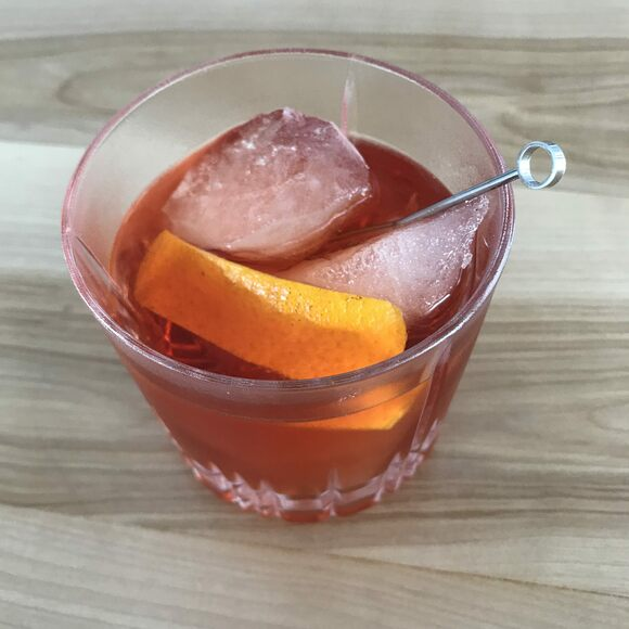 A Negroni featuring iceberg ice.