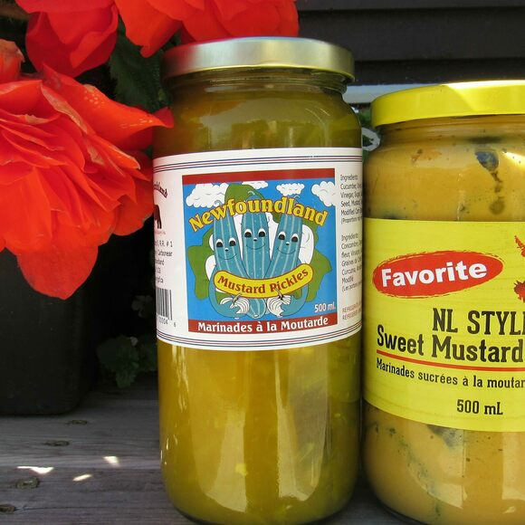 A jar of mustard pickles.