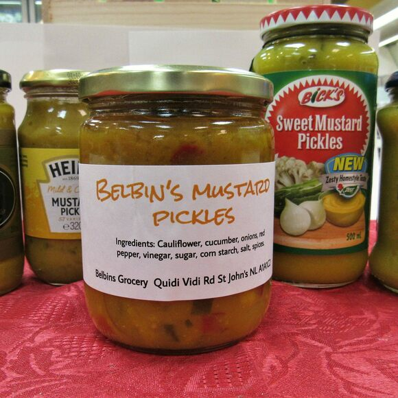 A wide array of mustard pickles.