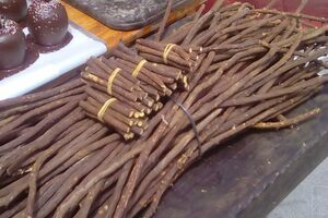 Licorice root for sale at a Spanish market.