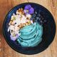 Blue-green algae gives this coconut yogurt a turquoise glow.