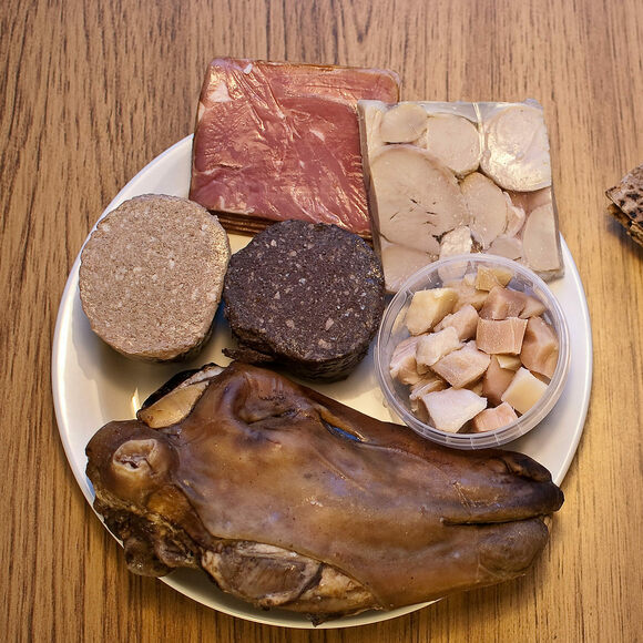 A spread of traditional foods for Þorrablót, including sour rams' testicles.