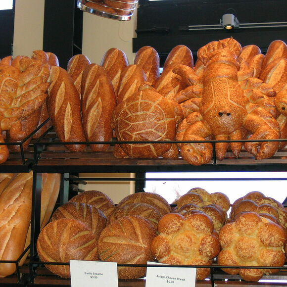 Sourdough bread lined up at San Francisco's Boudin Bakery.