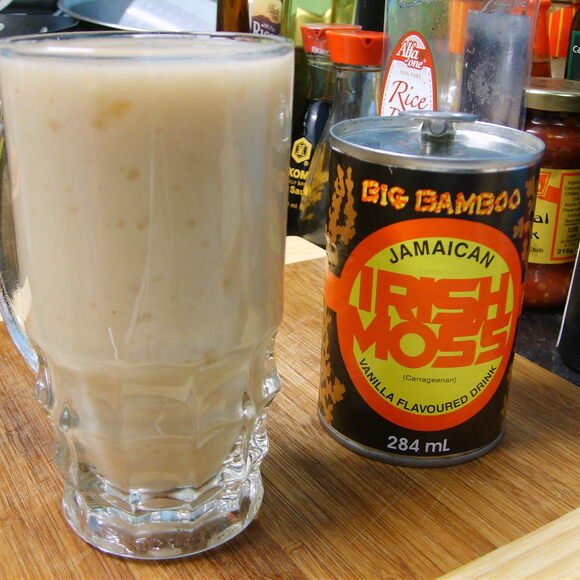 "A glass of ""Big Bamboo"" brand Jamaican Irish moss."