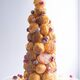A free-form croquembouche tower.