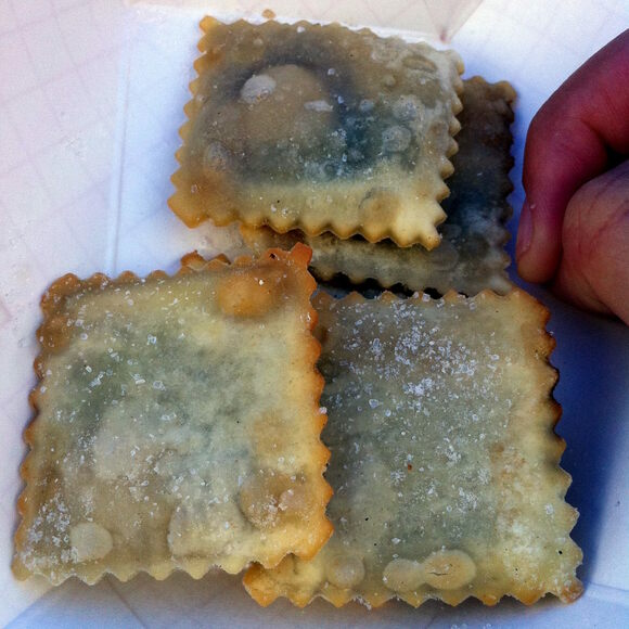 These ravioli-looking pockets are filled with beer.