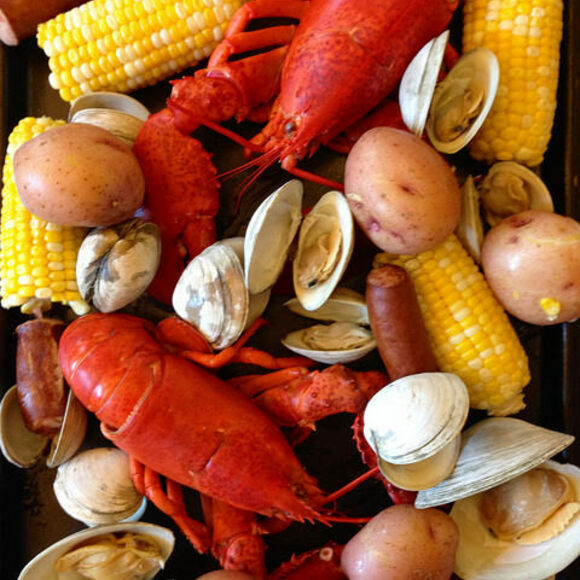A beachside bounty from a clambake.