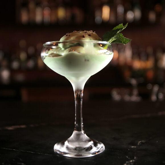 A Grasshopper ice cream cocktail.