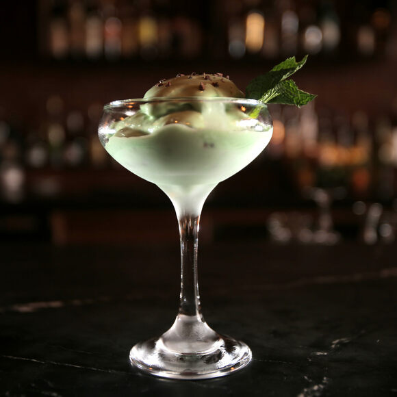 A Grasshopper ice cream cocktail.