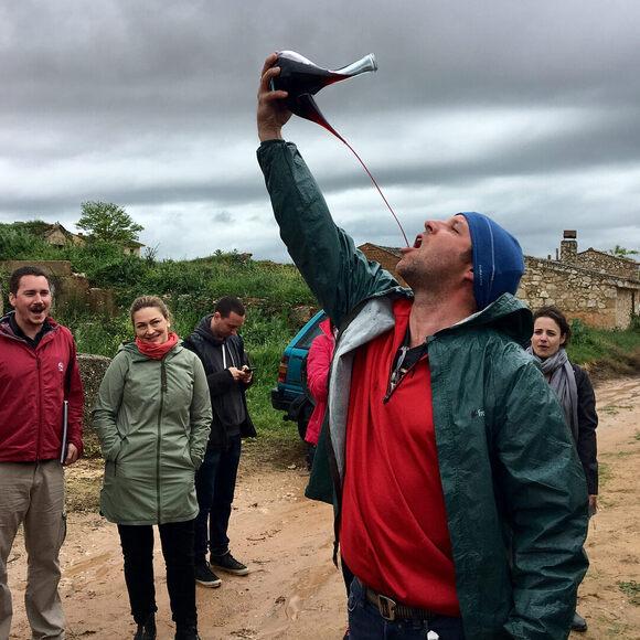 Enjoying Torremorón wine with a porrón.