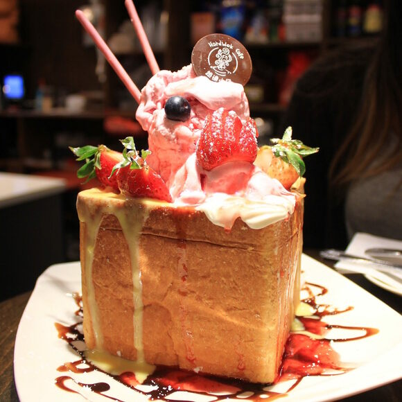 An intimidating mountain of honey box toast.
