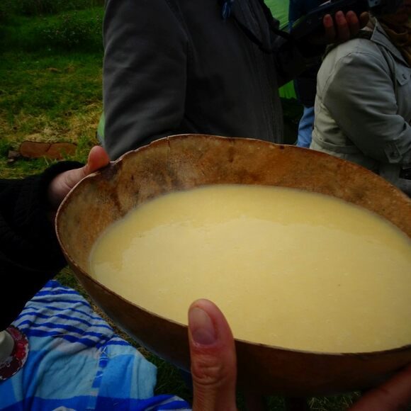 A serving of chicha at the winter solstice ceremony Fiesta del Huan, celebrated at Colombia's El Museo Arqueológico de Sogamoso.