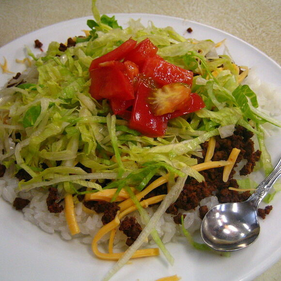 Taco rice at Jack's Steak House in Naha, Okinawa