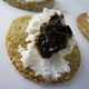 Laverbread oatcakes topped with goat cheese and bara lawr.