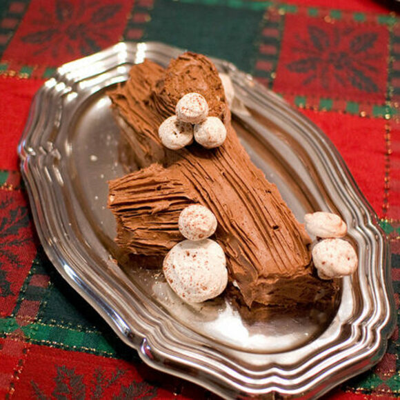 mock mushrooms are often added to yule log cakes made of either meringue or marzipan - Christmas Yule Log Cake