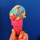 Superman ice cream in a super cone.