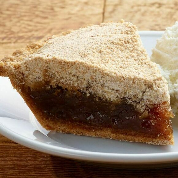 Shoofly pie a la mode in Lancaster County, Pennsylvania.