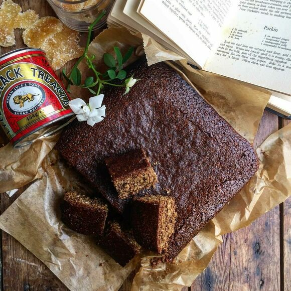 "Yorkshire Parkin from the vintage cookbook ""Farmhouse Cookery."""