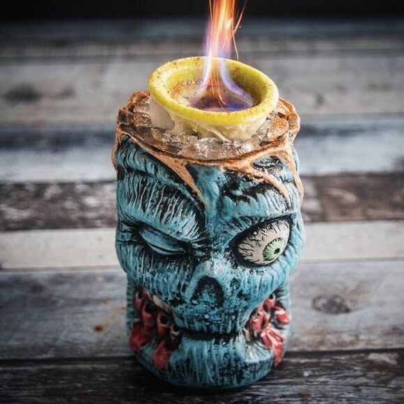 A Zombie set aflame.