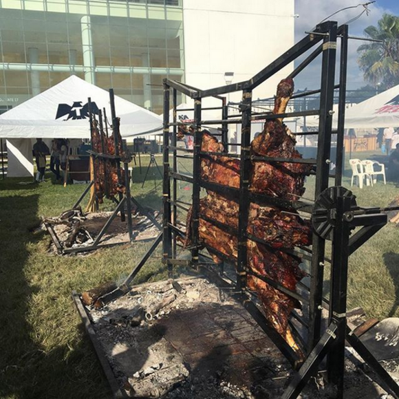 Two cows are roasted in Mazatlan, Mexico, in 2016, by chef Dante Ferrero.