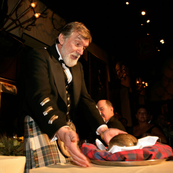 Addressing the haggis.