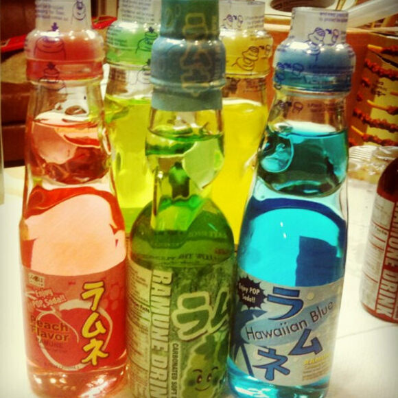 Ramune comes in a wide variety of flavors, including peach and Hawaiian Blue.
