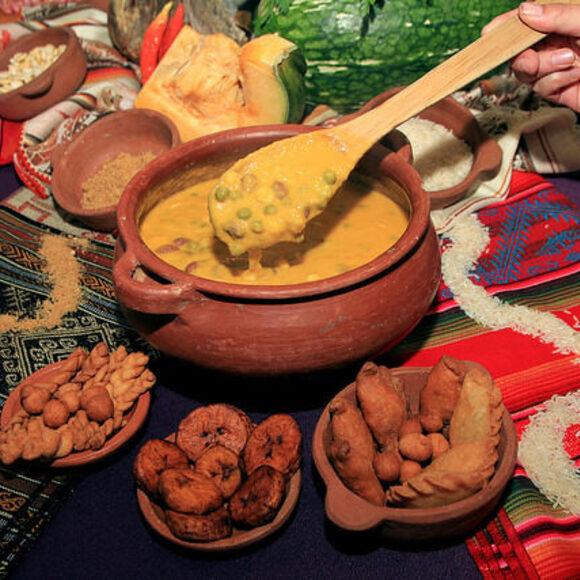 Fanesca, alongside a few of its many ingredients.