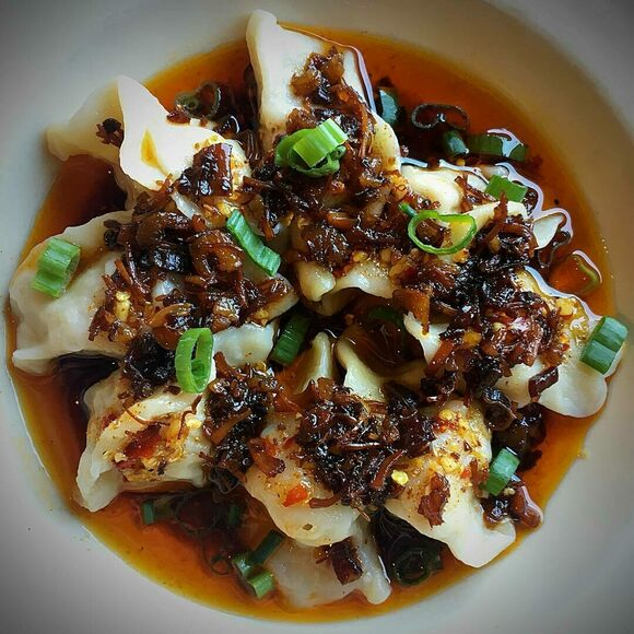 Dumplings smothered in XO sauce.