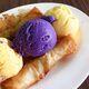 Keso ice cream sandwiching purple ube ice cream.