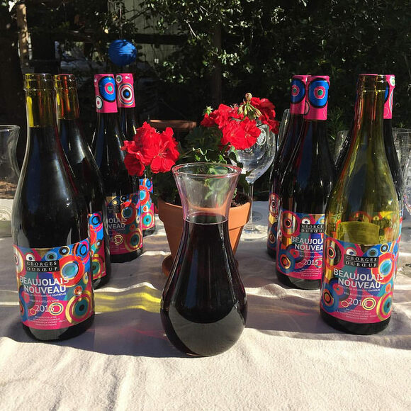Bottles of Beaujolais Nouveau in Sonoma, California.