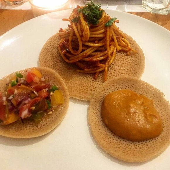 This take on spaghetti injera uses the classic Ethiopian spice blend berbere.