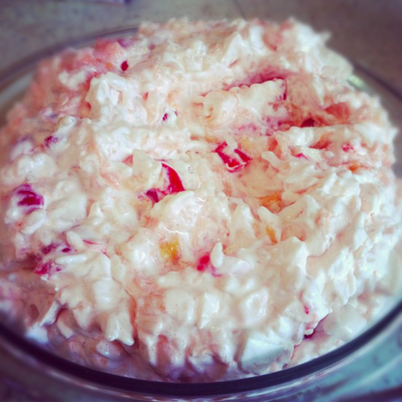 Glorified rice with cherries and apples.