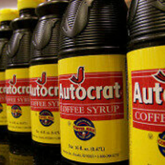 Rows on rows of Autocrat, a coffee syrup made by a top producer of the stuff.