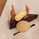 Wattleseed ice cream with a chocolate tart.
