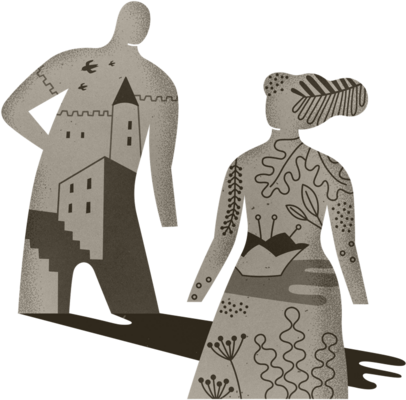 Illustration of two people with designs of plants and buildings within their outlines.