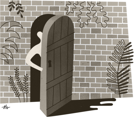 Illustration of a person peeking out from the door of a brick building covered in plants.